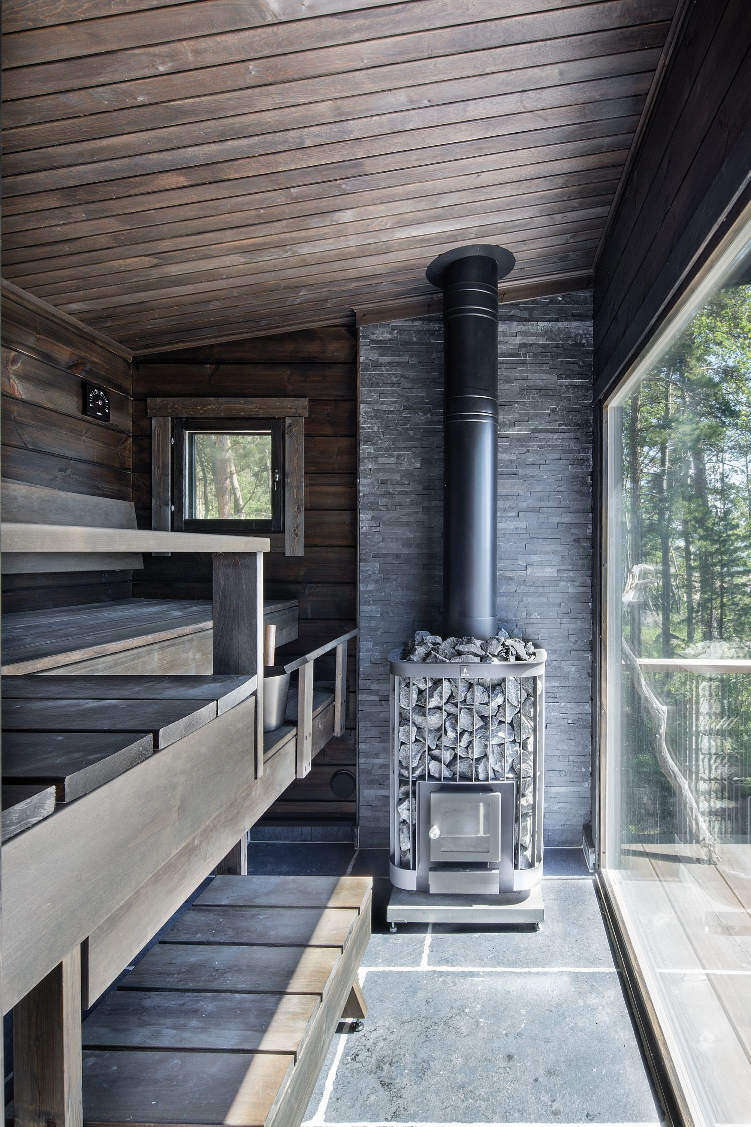 Modern Scandinavian Log Cabin Set On A Beautiful Baltic