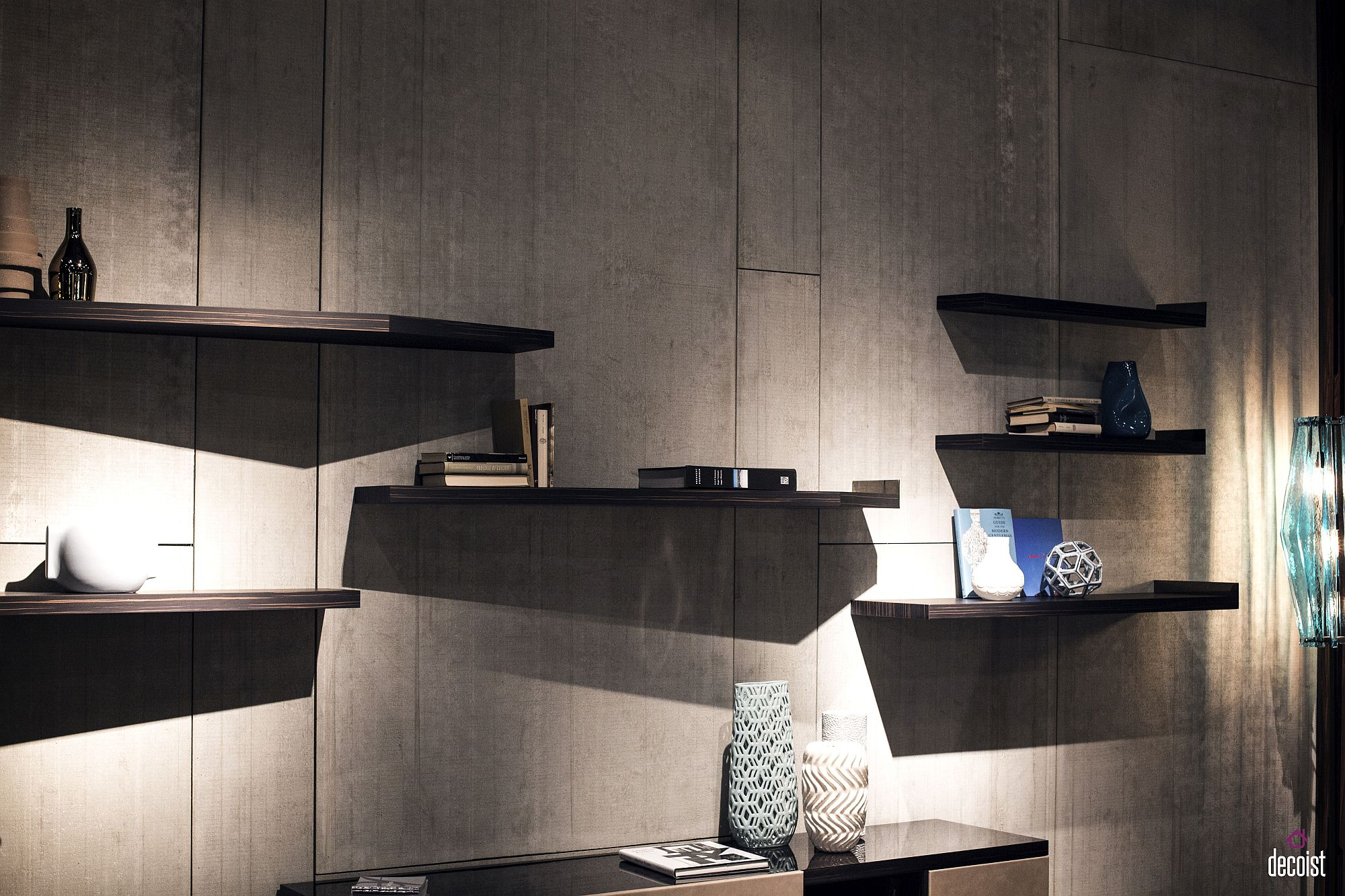 Modern floating shelves are easy to install and illuminate