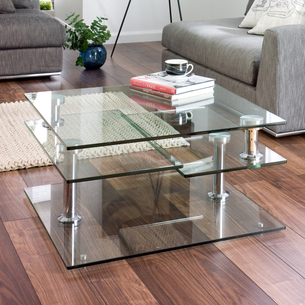 30 glass coffee tables that bring transparency to your for Contemporary glass top coffee table