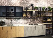 Modern-industrial-single-wall-kitchen-idea-217x155