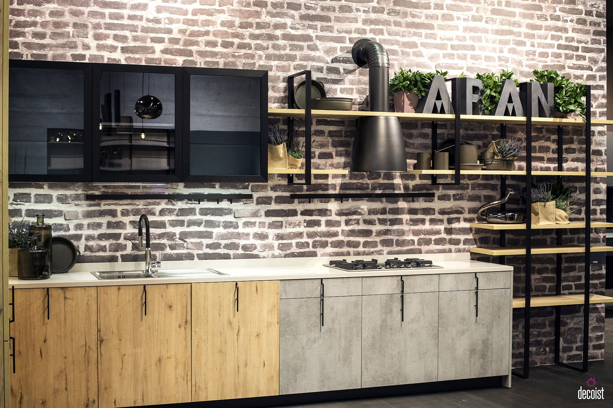 Modern industrial single-wall kitchen idea