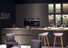 Modern-kitchen-in-gray-with-wooden-breakfast-bar-from-Leicht-217x155