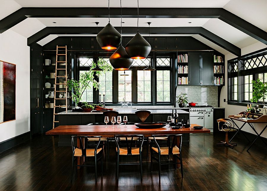 One-wall kitchen of the remodeled library home in Portland