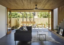 Open living area with wooden ceiling and polished floors 217x155 Habitat on Terrace: Modern Reinterpretation of a Classic Queenslander
