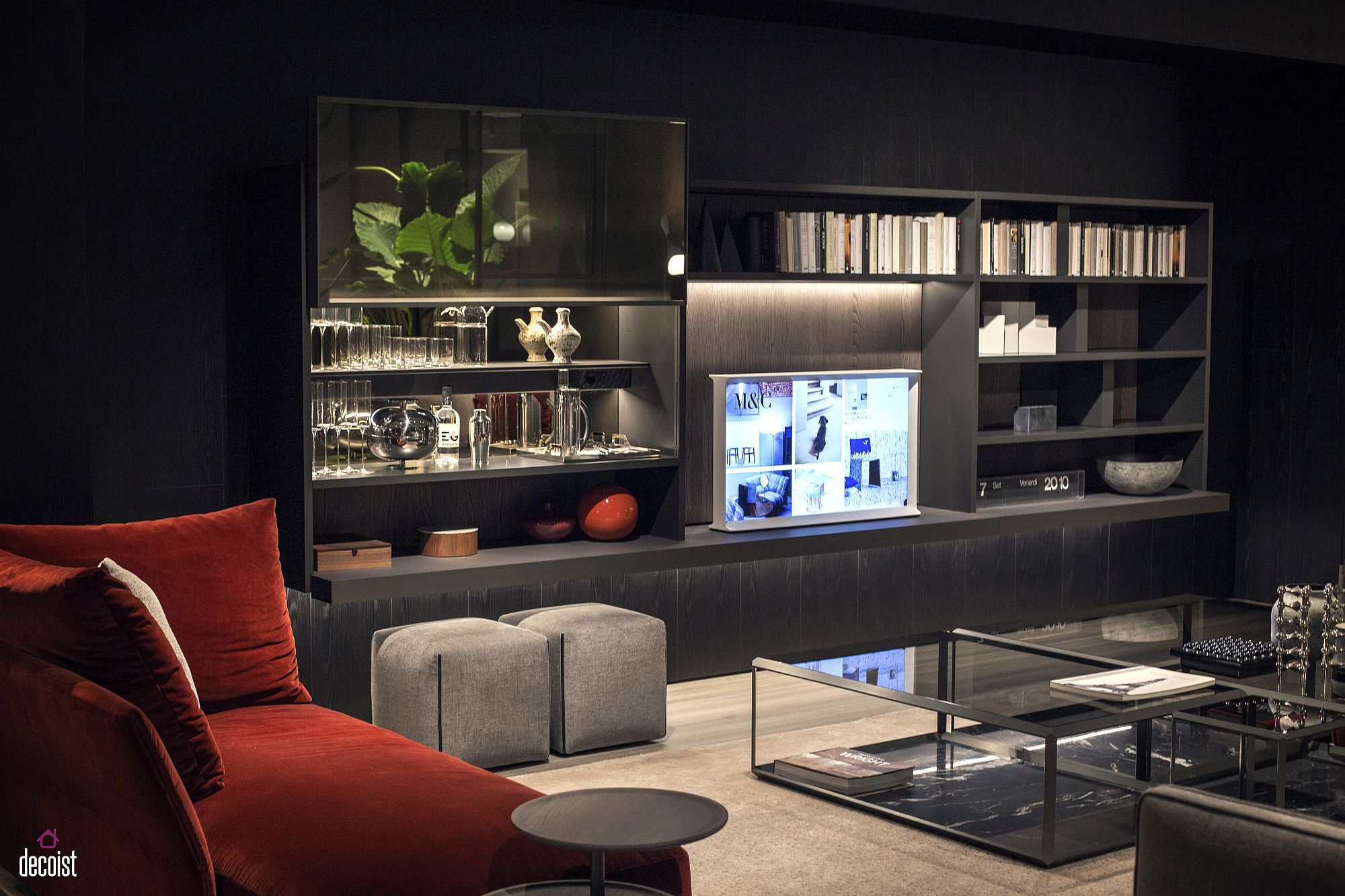 Open shelves built around the TV for the masculine living space