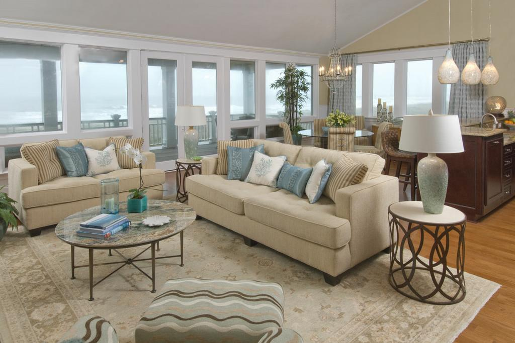 Coastal Living Rooms That Will Make You Yearn for the Beach The Colors of the Sand. Beachy Living Rooms. Home Design Ideas