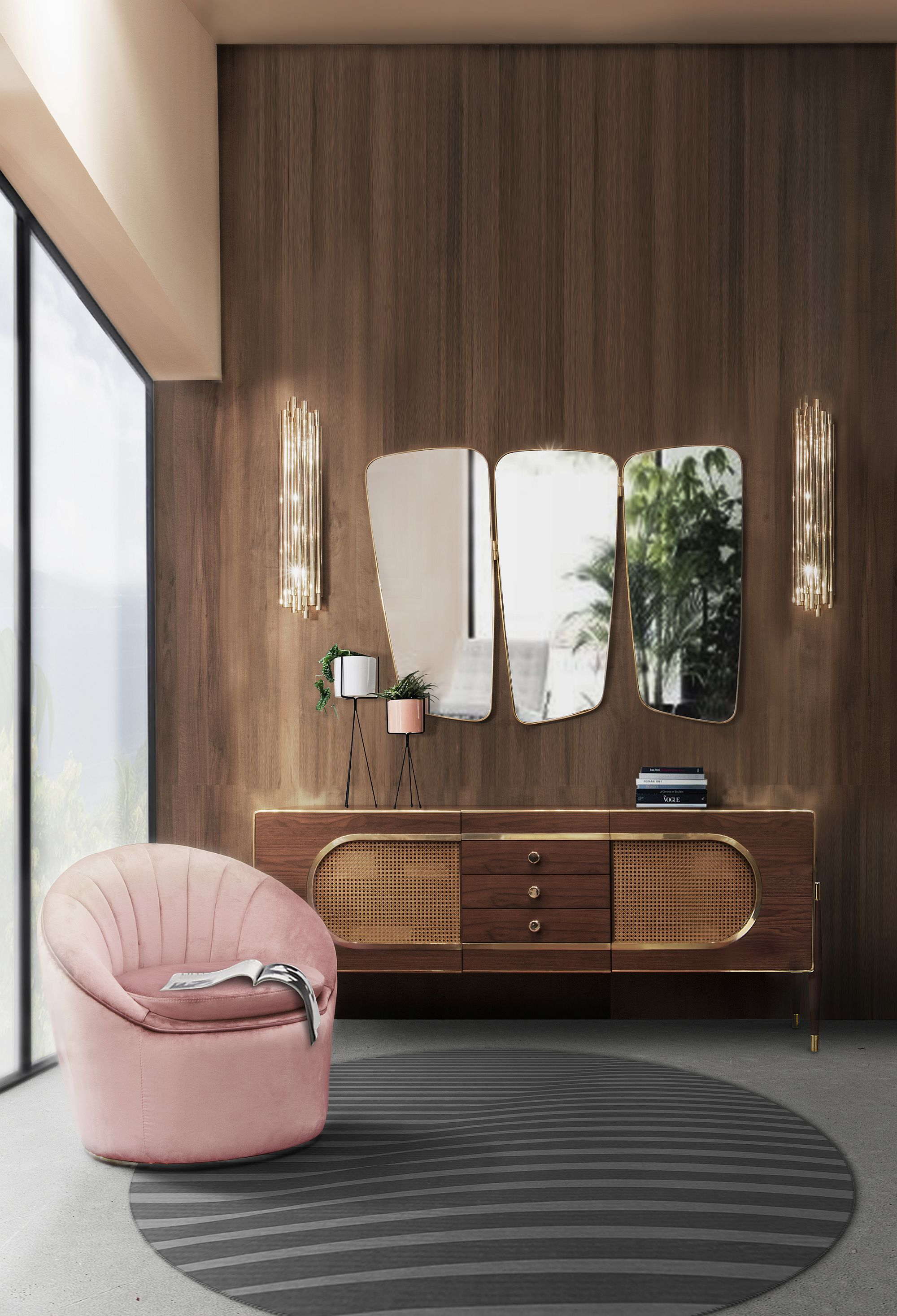 Plush arcmchair and classic sideboard for the midcentury home