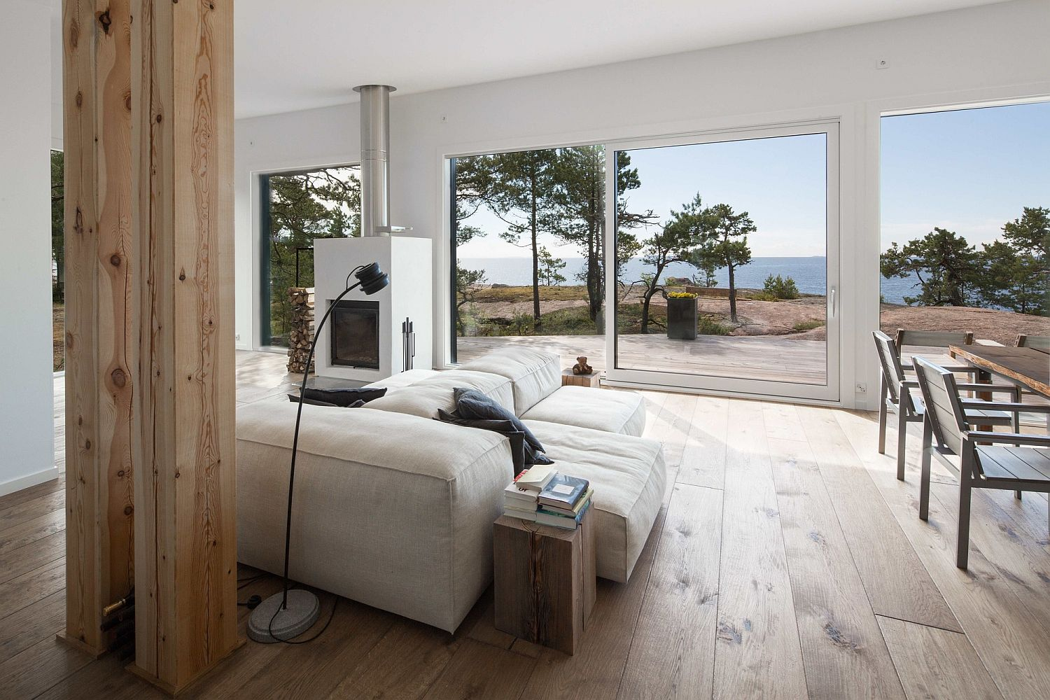 Pluspuu Logs and terrace made of Siberian larch at the beautiful island escape