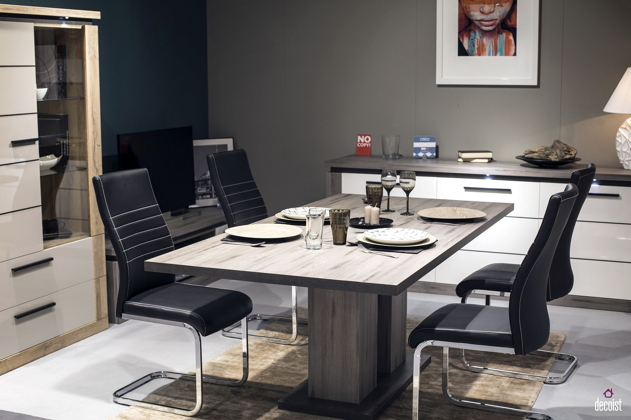Polished-contemporary-dining-room-from-Sciane-with-wooden-dining-table