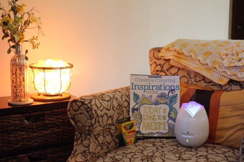 Reading-nook-with-a-gentle-glow-of-a-salt-lamp