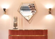 Retro style of the sideboard coupled with geometric brilliance of Diamond mirror 217x155 Midcentury Modern Panache: Trendy New Décor from Essential Home