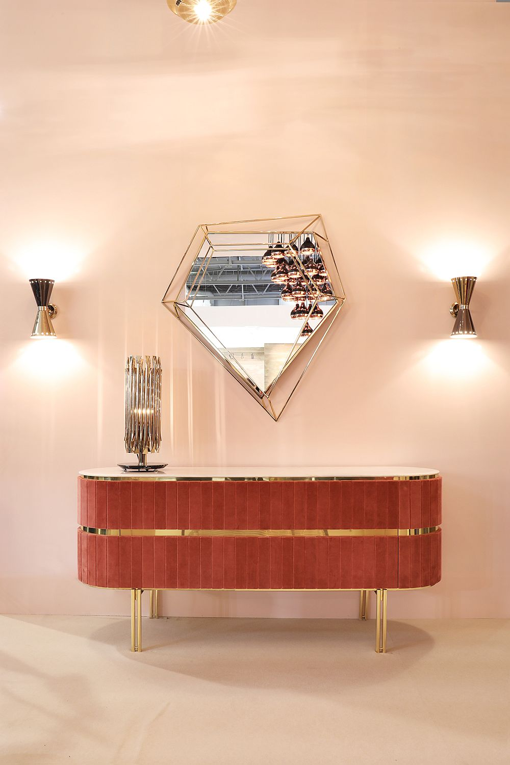 Retro style of the sideboard coupled with geometric brilliance of Diamond mirror