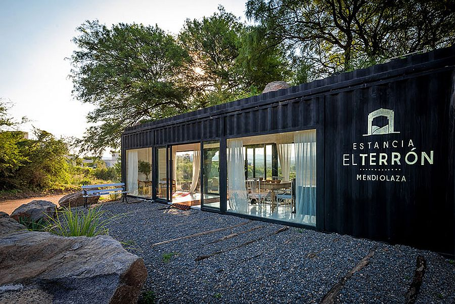 Sales office for estancia el terrón in Argentina crafted from old shipping container