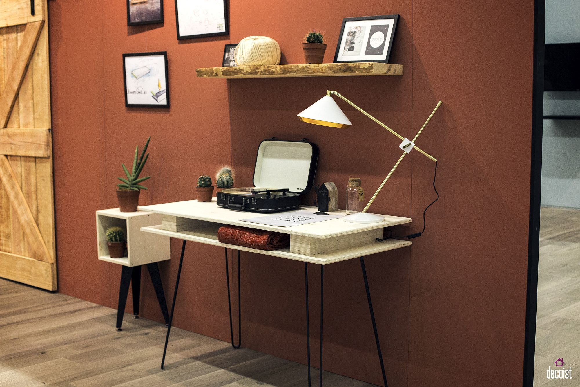 Simple wooden floating shelf for the space-savvy home workstation