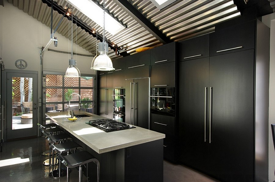 Smart cabinets in the kitchen make use of the vertical space Embracing Darkness: 20 Ways to Add Black and Gray to Your Kitchen