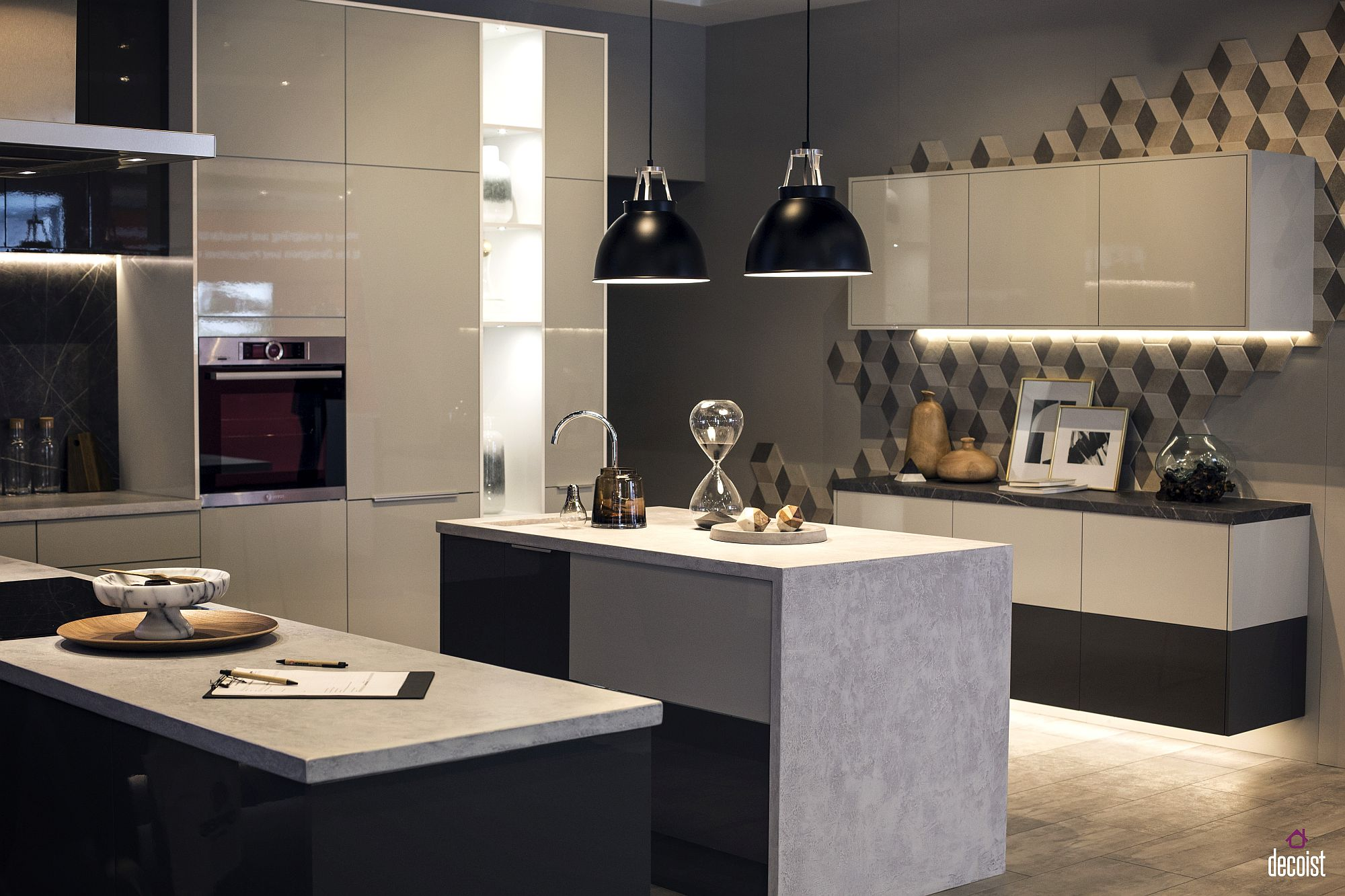 Smart under-cabinet LED strip lighting in kitchen is a functional choice