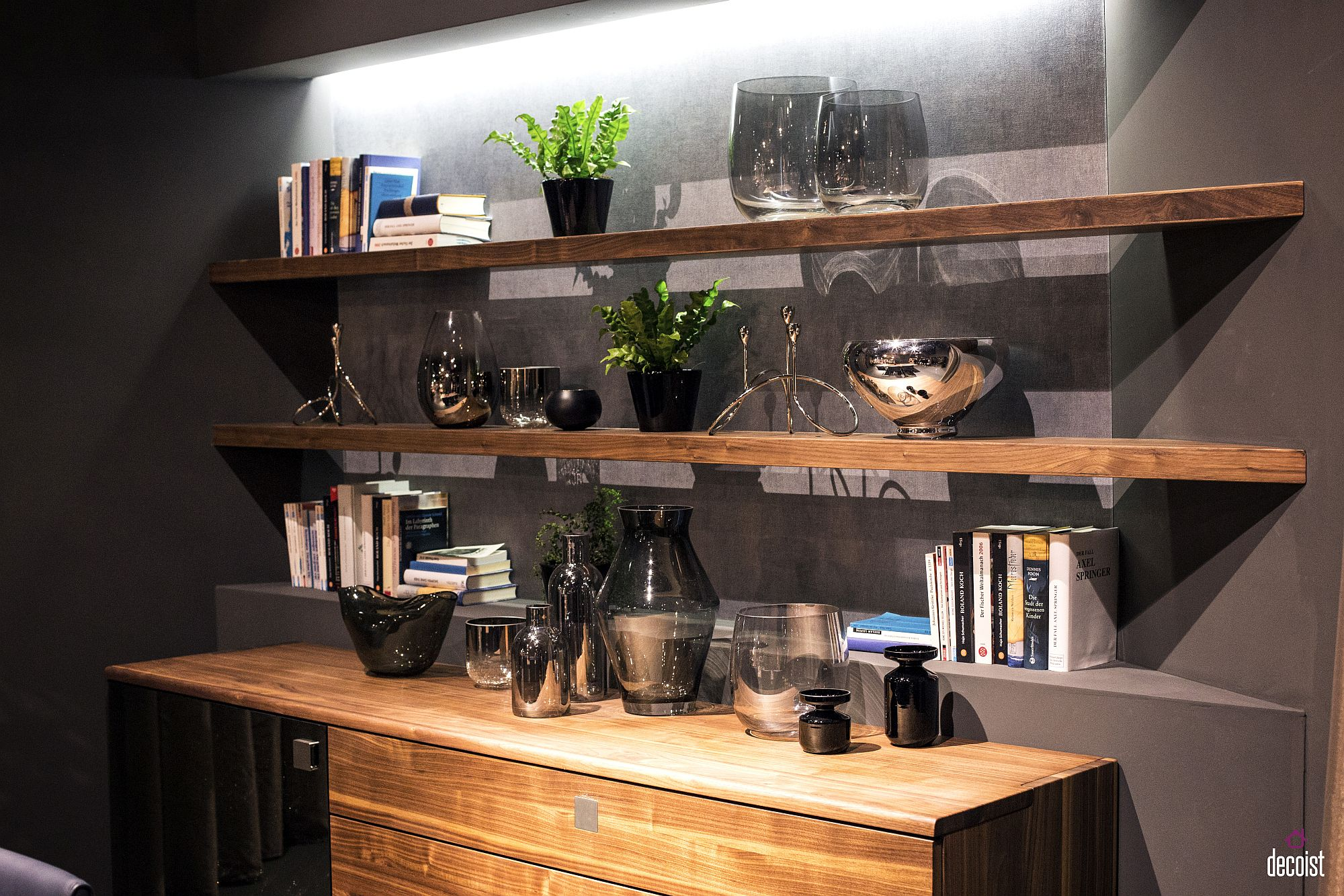 Smart way to decorate the dining room corner with wooden sideboard and floating shelves