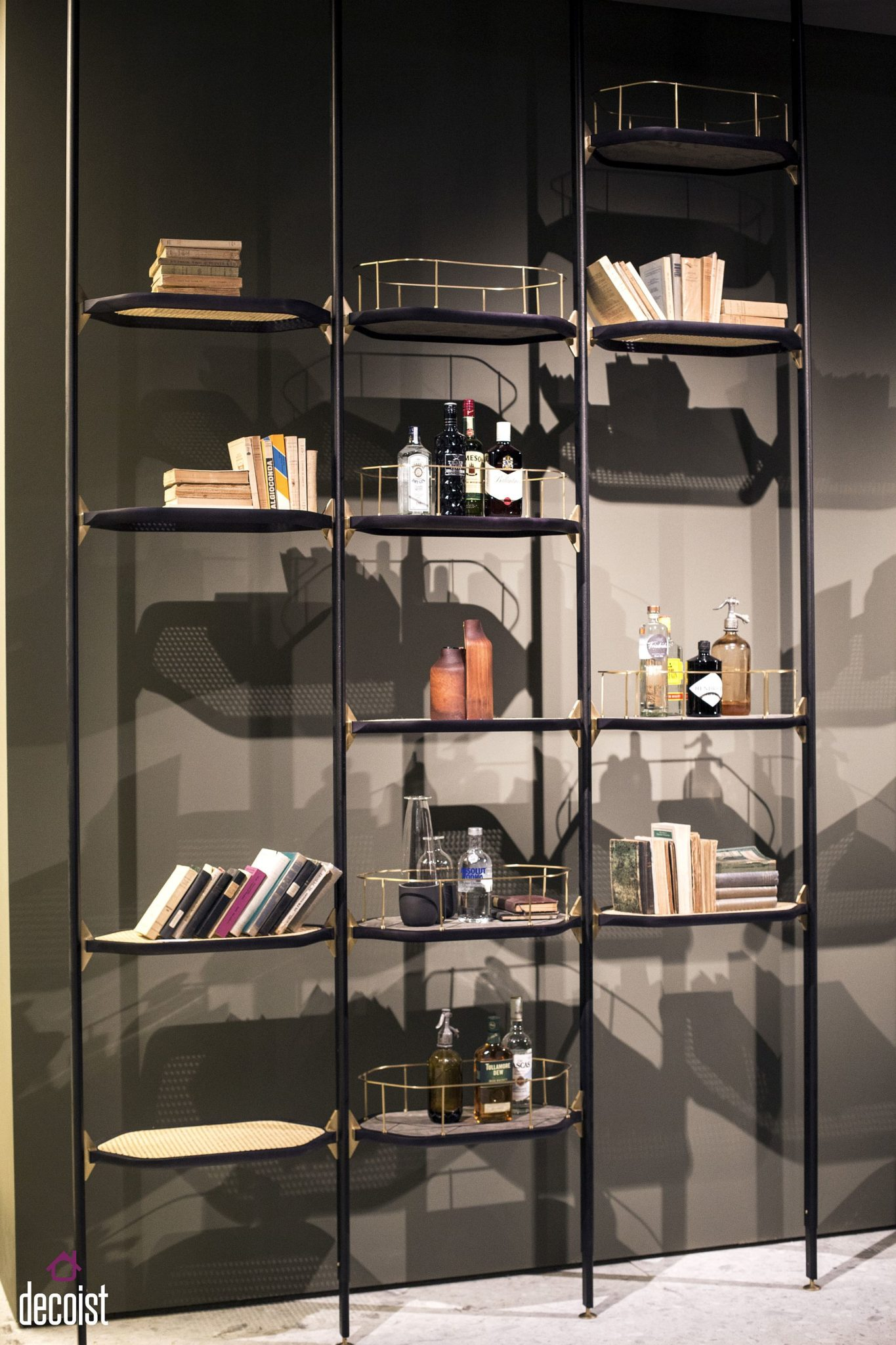 Standalone metallic shelving for those who wish to move away from the usual floating shelves