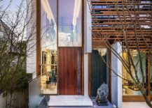 Stone and reflecting pod give the entrance a serene inviting vibe 217x155 Oriental Inspiration Finds Space Inside this Lavish Vancouver Residence!