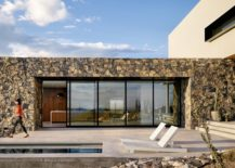 Stone exterior of the contemporary home with sliding glass walls 217x155 In the Foothills of Franklin Mountains: Multi Level Family Home in El Paso