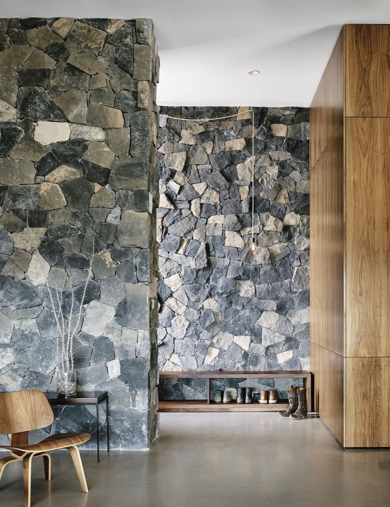Stone, wood and stucco create a unique and stylish modern home