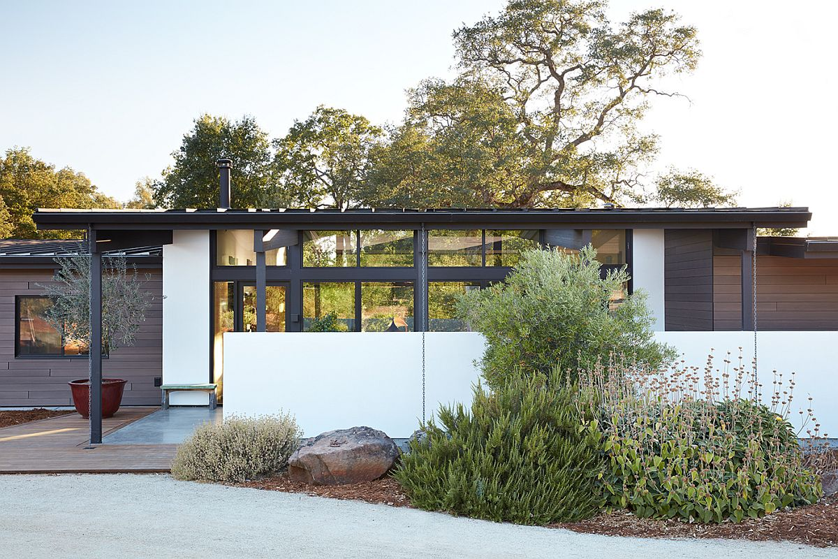 Street facade of the newly built residence offers complete privacy