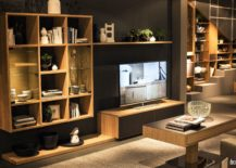 Striking-wall-mounted-wooden-shelves-save-space-in-the-small-living-room-217x155