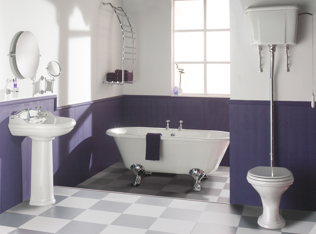 Subtle grey checkerboard floors in a beautifully colored bathroom