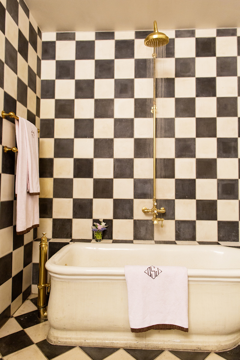 The straight checkered monochrome walls