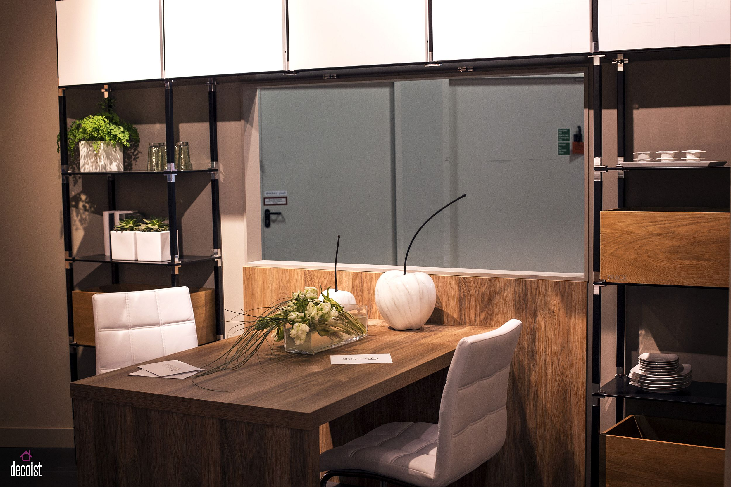 Turn a nifty corner in the kitchen into home workspace with a space-savvy wooden desk