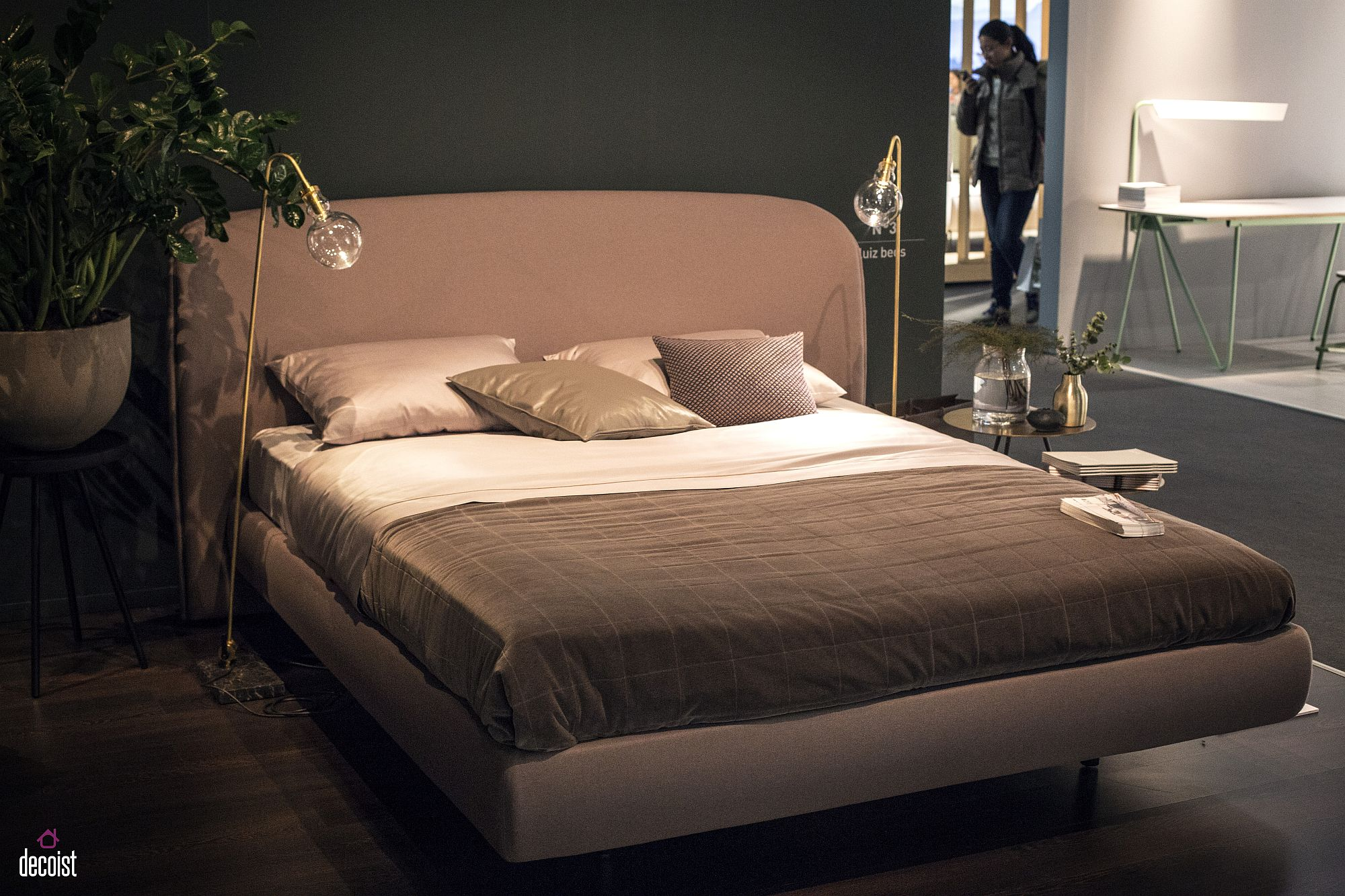 Twin-floor-lamps-replace-traditional-bedside-tables-here