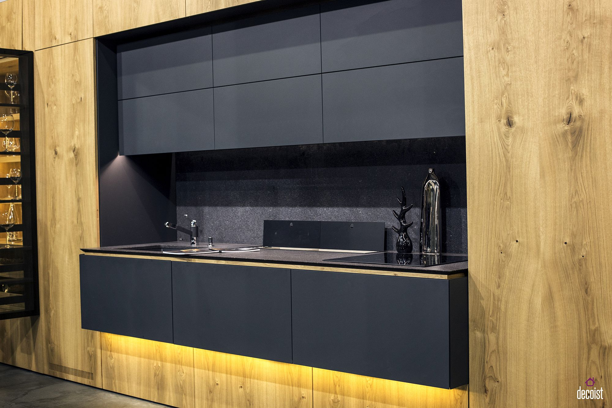 Under-counter LED lighting adds glam to the minimal single kitchen