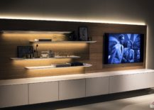 Under-shelf-LED-strip-lighting-adds-to-the-aura-of-the-TV-wall-unit-217x155