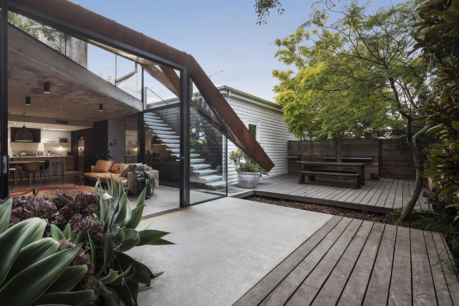 Unique design of the glazed roof brings the landscape inside with ease