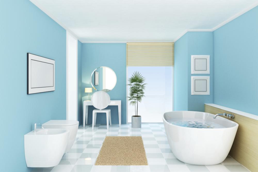 Vibrant-checkered-bathroom