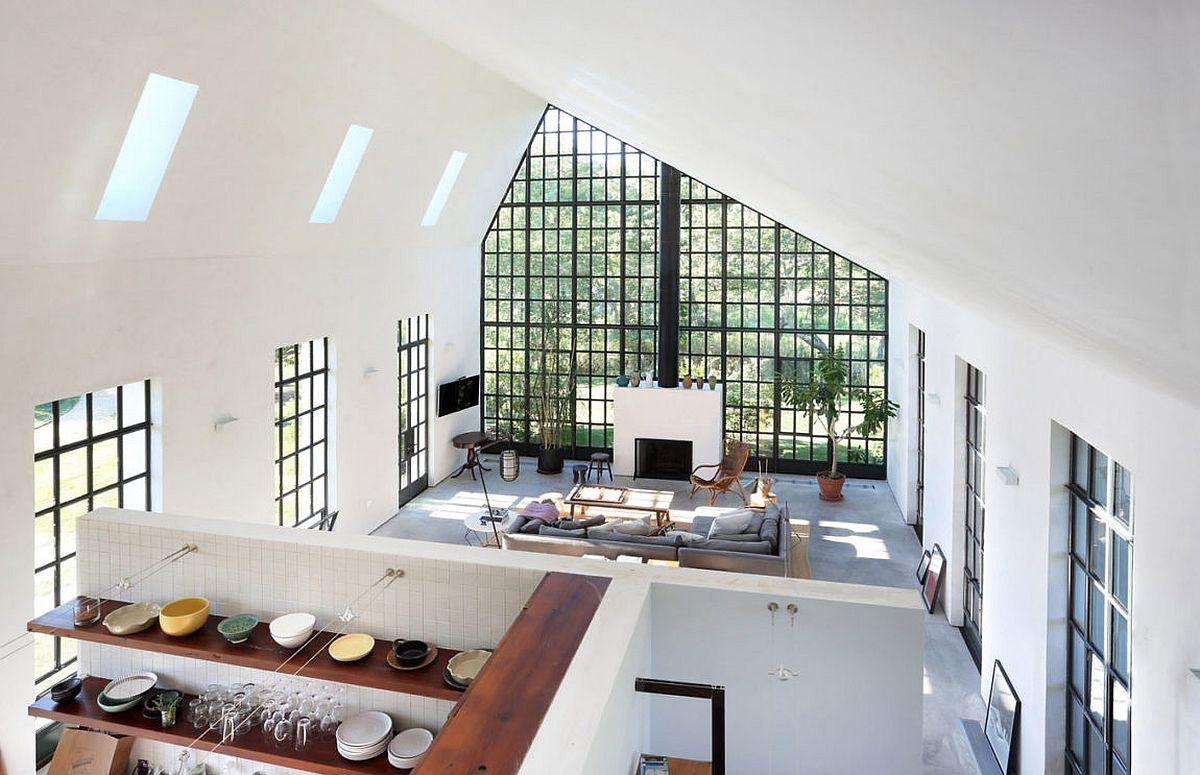 View of the living room and kitchen from top