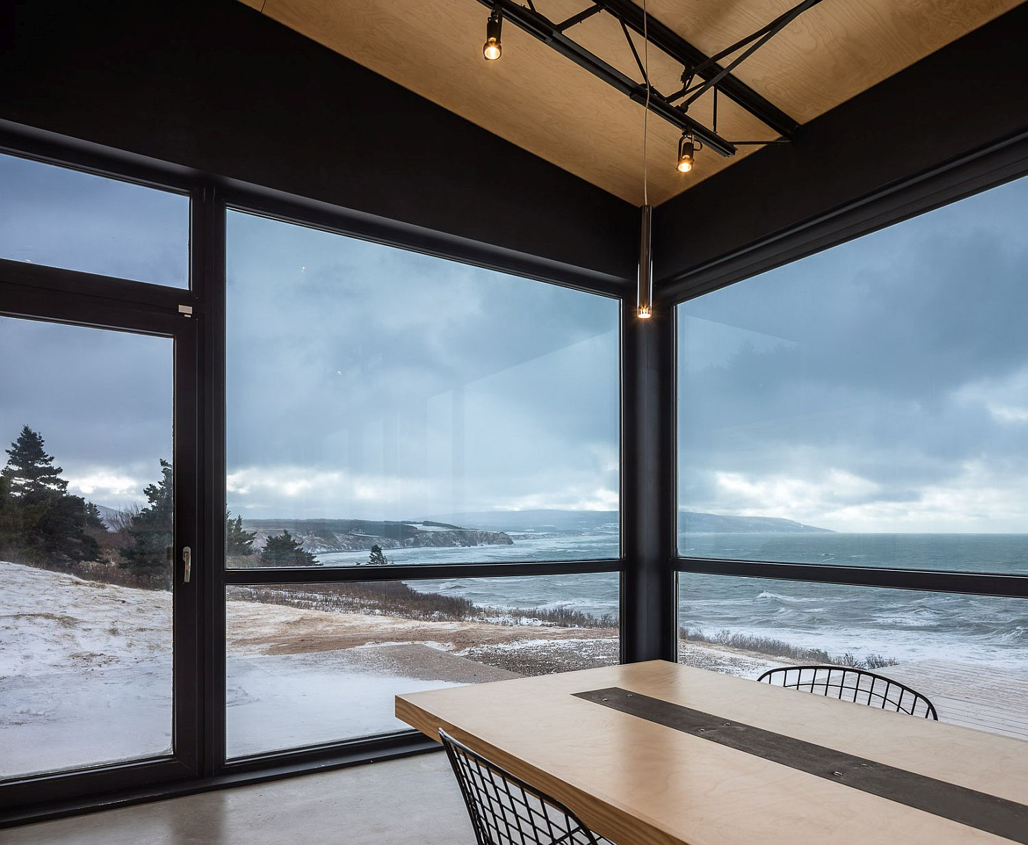View of the ocean and rough coastline from the dining room