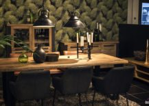 Wallpaper and pendants bring exclusivity to the dining table setting by UNIQUE 217x155 A Natural Upgrade: 25 Wooden Tables to Brighten Your Dining Room