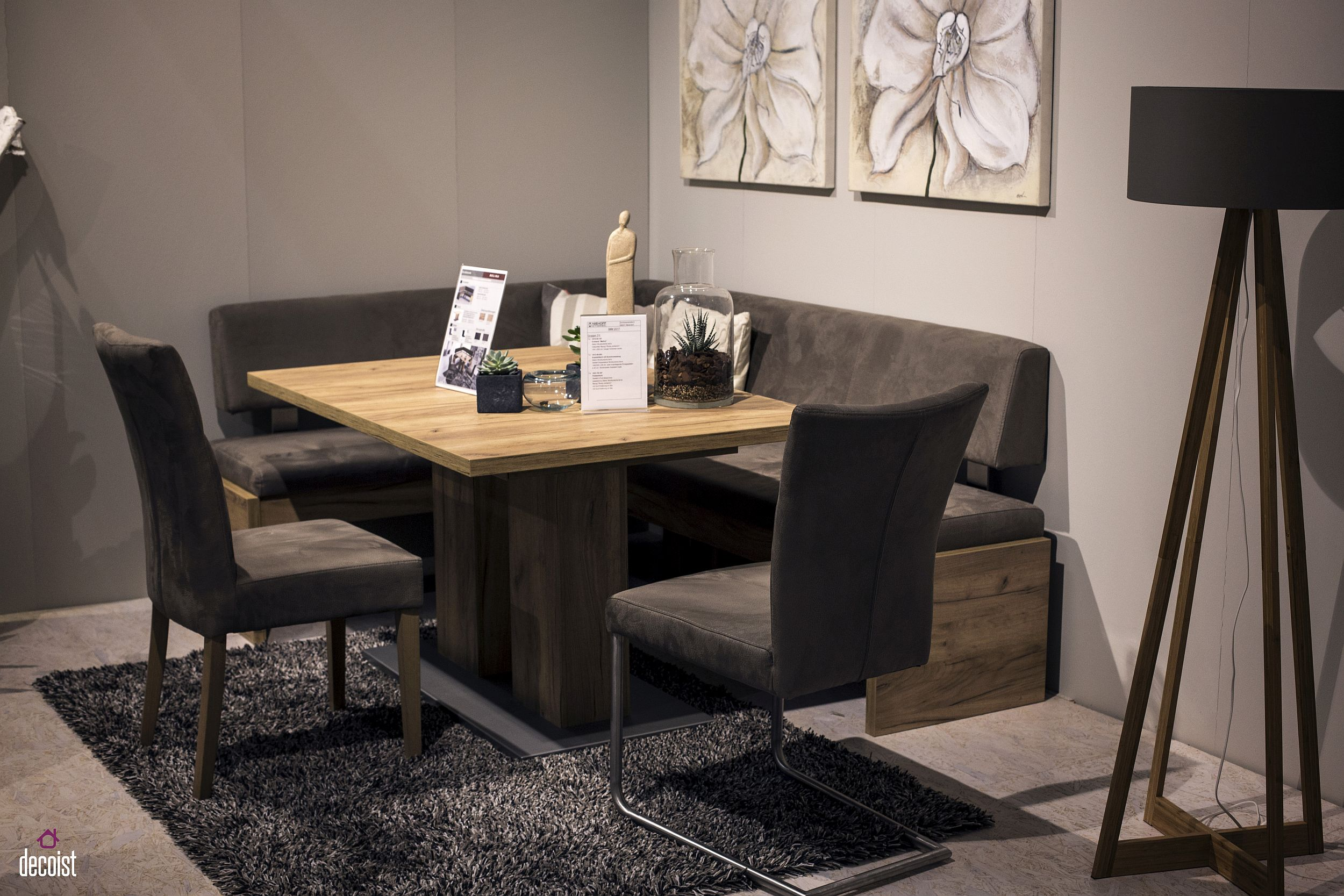 Wood and gray make a stylish combination in the small contemporary dining space