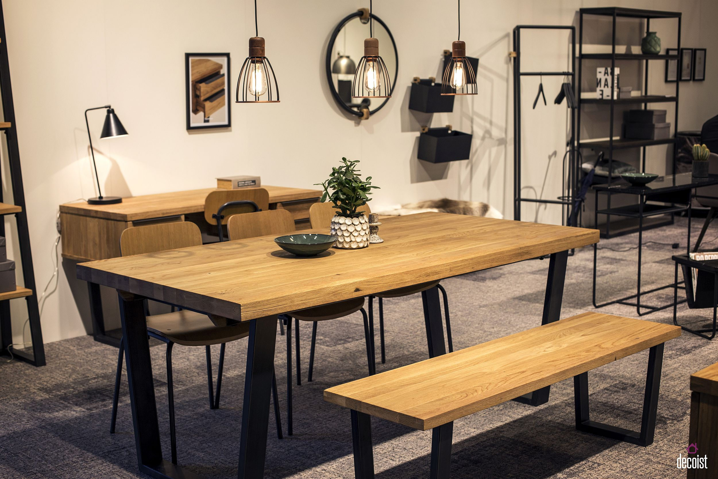 Wooden bench in the dining table adds beauty and visual contrast