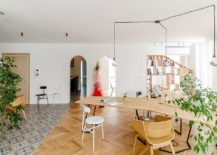 Wooden desks and smart partitions create a versatile and comfy workspace 217x155 Ingenious Plywood Partitions and Drapes Turn Apartment into Workspace