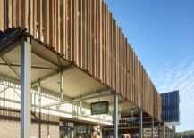 Wooden slats give the facade of the building a unique look 217x155 Natural Industrial Design: Flamboyant Community Center Down Under