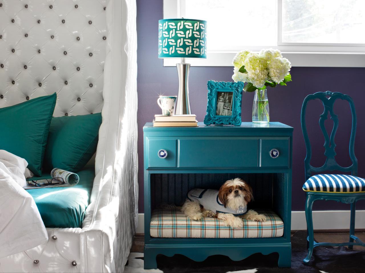 A bedside table turned dog nook