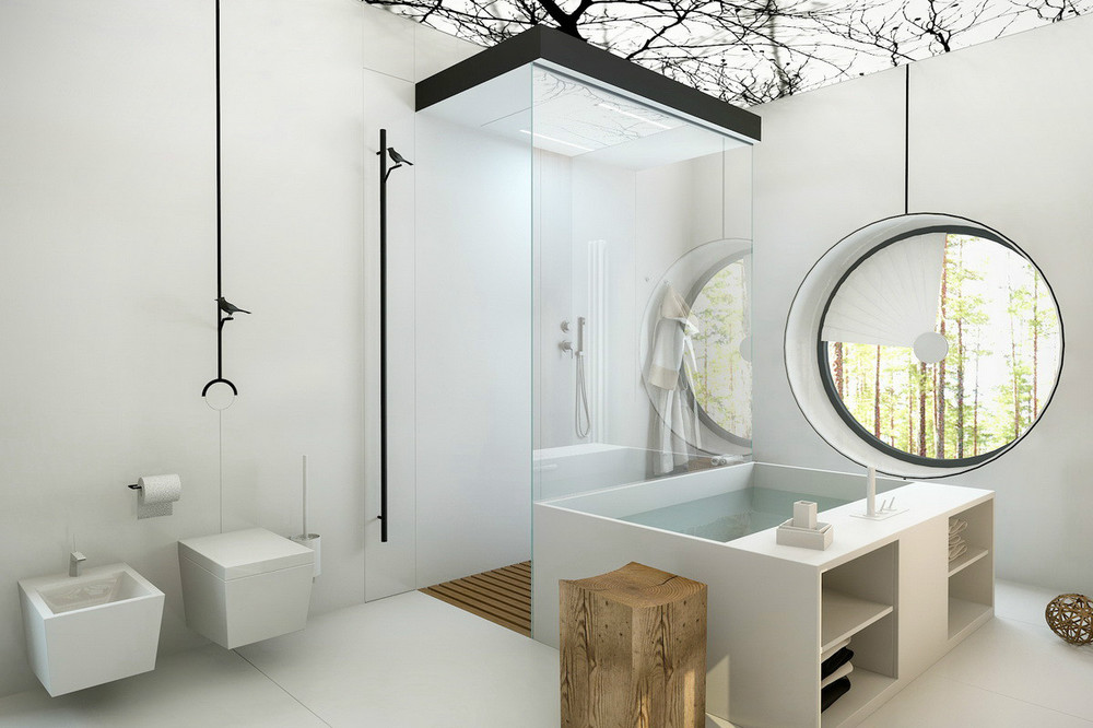 A modern and compelling bathroom with a simple round window