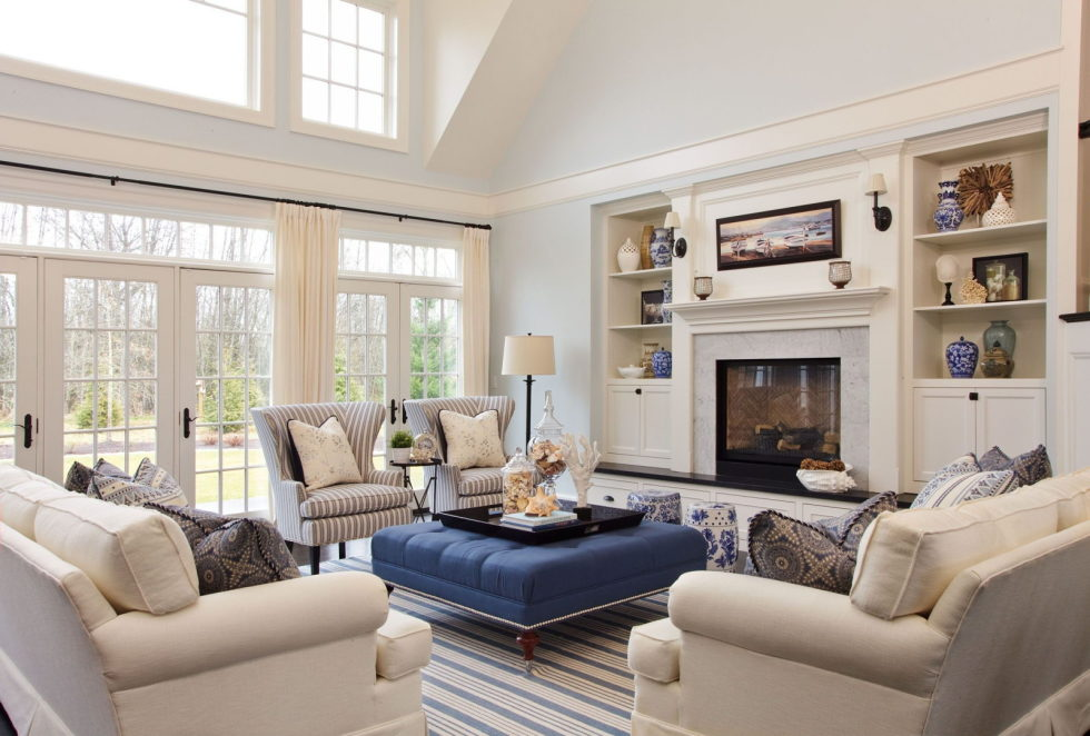 Blue beige living room
