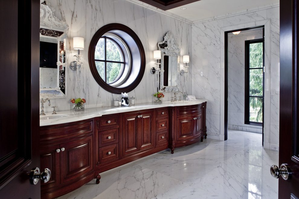 Beautiful marble bathroom with a wooden wound window