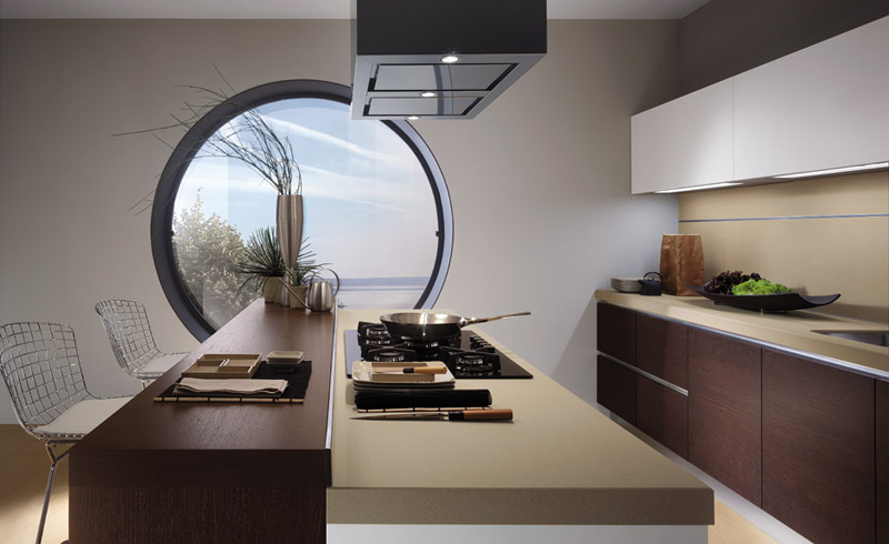 Beautiful round window in a modern kitchen