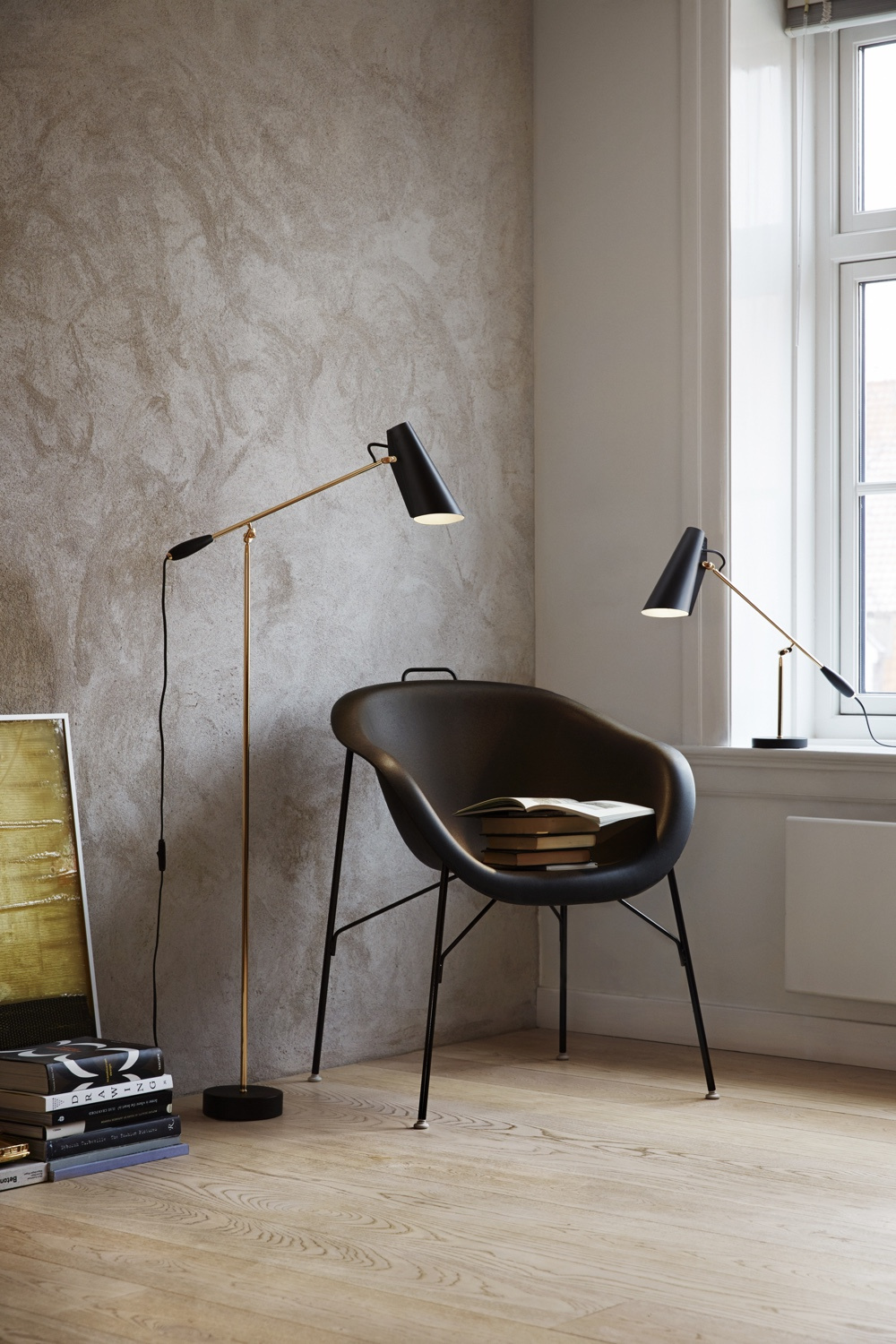 Birdy floor lamp black and brass
