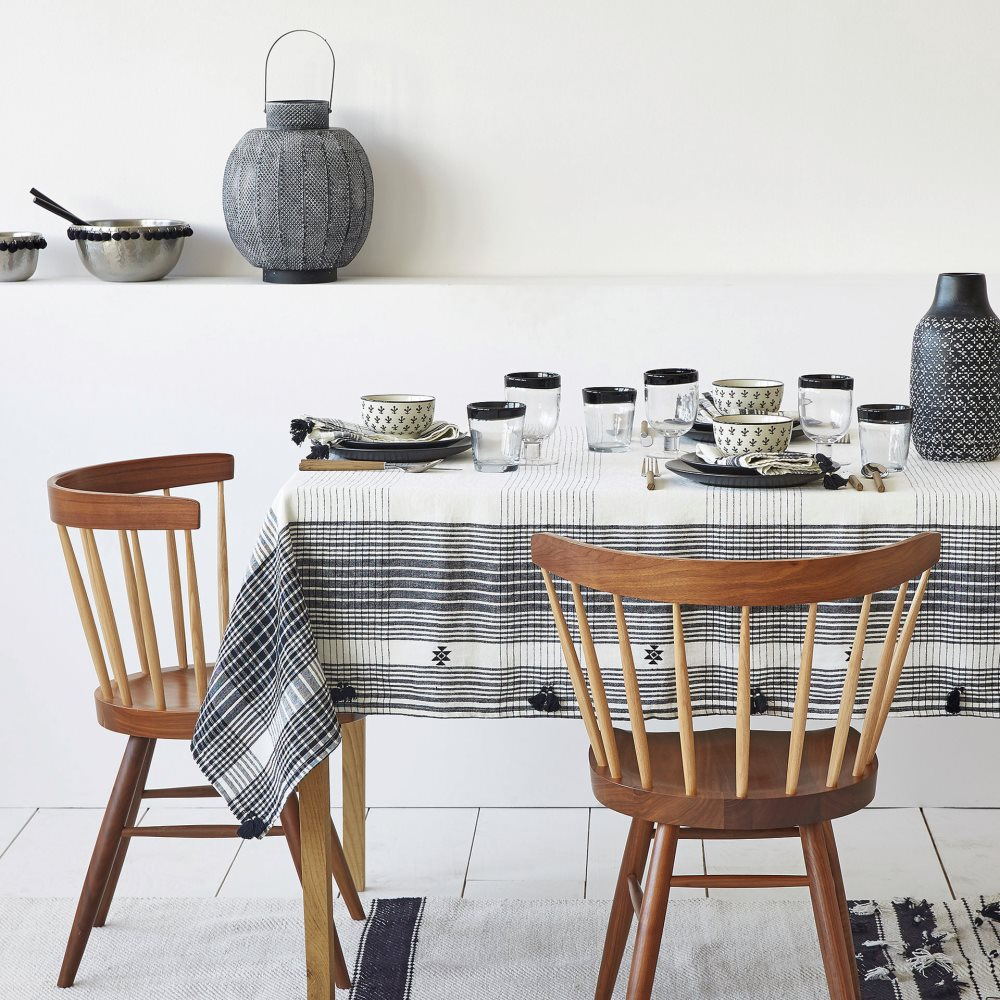 Black and white linen tablecloth from Zara Home