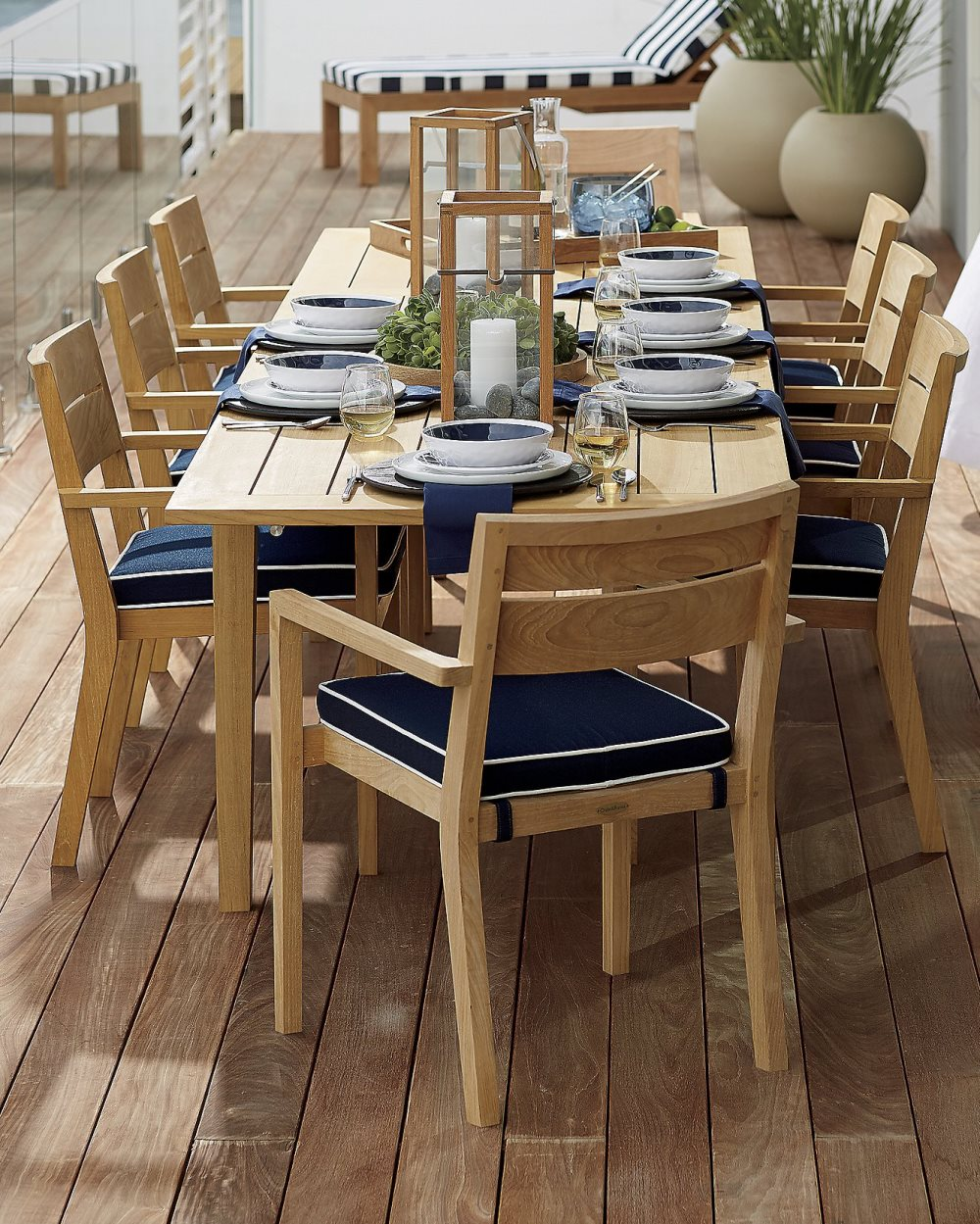 Blue and white dinnerware from Crate & Barrel